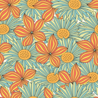 Colorful flowers seamless pattern