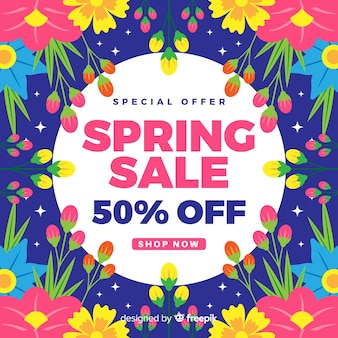 Colorful flowers spring sale background