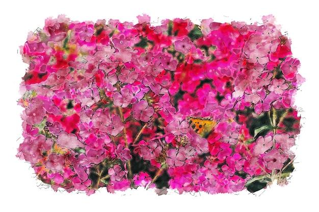 カラフルな花の水彩ポスター