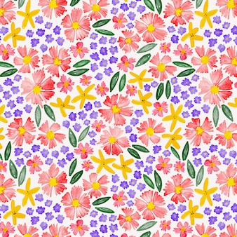 Colorful flowers watercolor seamless pattern