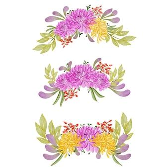 カラフルな花の水彩画