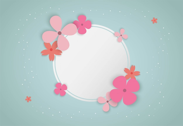 Colorful flowers with circle frame