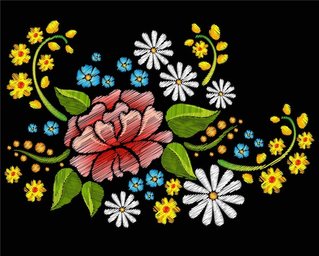 Colorful flowers with embroidery style