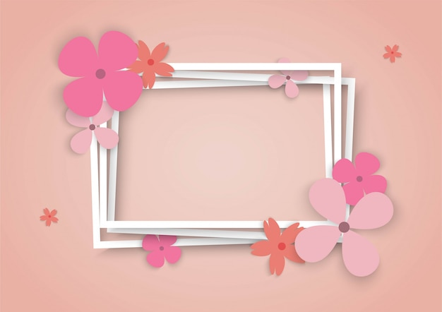 Colorful flowers with square frame