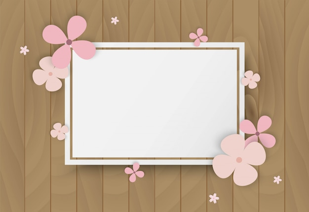 Colorful flowers on wooden frame