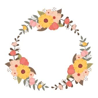 パステルカラーの色とりどりの花の花輪