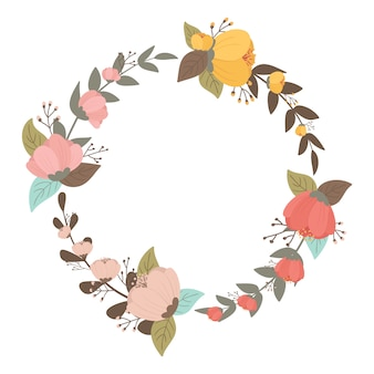 Colorful flowers wreath in pastel color