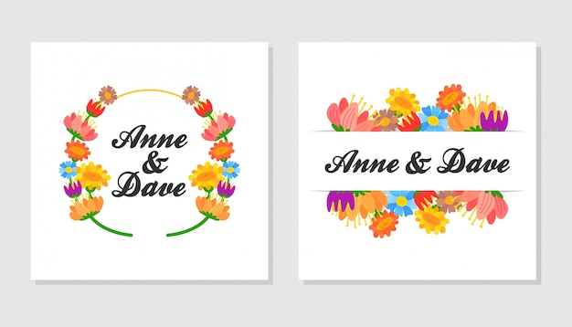 Colorful flowers wreath with cute flowers and leaves.design for invitation, wedding or greeting cards