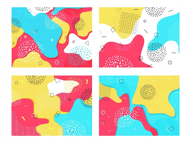 Colorful fluid art abstract  with geometric elements in four option.