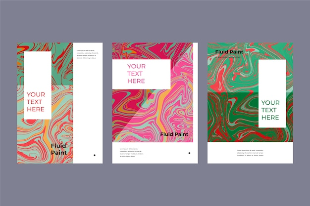 Colorful fluid effect poster template collection