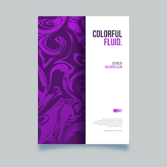 Шаблон постера с красочным эффектом жидкости