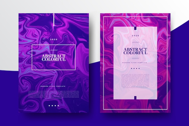 Colorful fluid effect posters template