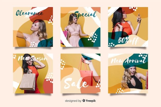 Colorful fluid instagram post collection template