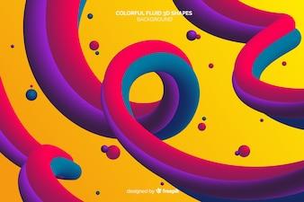 Фон красочных жидких трехмерных форм