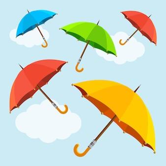 Разноцветные мухи, парящие зонтики. плоский дизайн