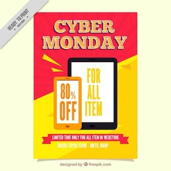 Volantino colorato per cyber lunedi in stile piatta