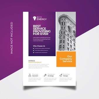 Colorful flyer with purple accent