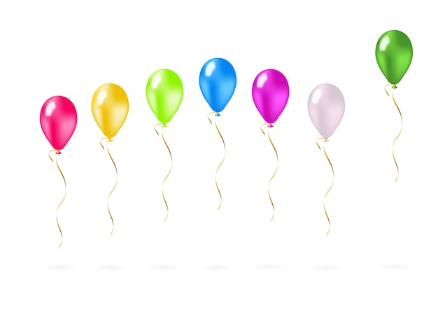 Colorful flying balloons in a row