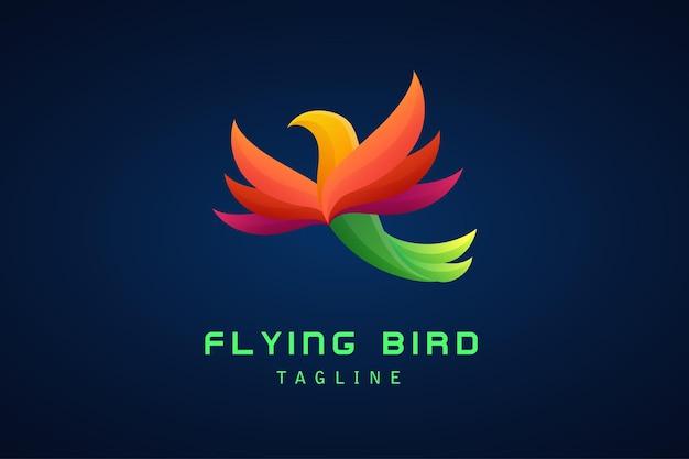 会社のカラフルな空飛ぶ鳥のグラデーションのロゴ