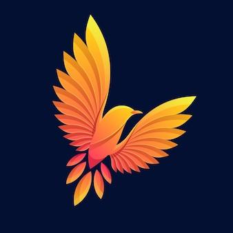 Colorful flying bird logo illustration vector template