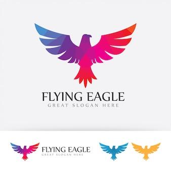 Colorful flying eagle logo.