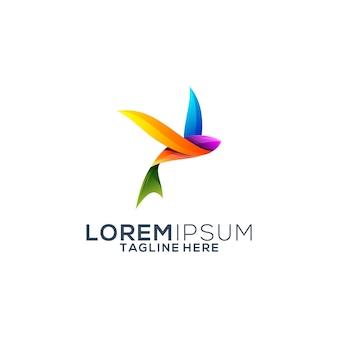 Colorful flying fish logo design