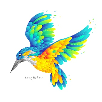 Colorful flying kingfisher