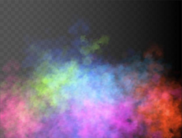 カラフルな霧や煙が分離された透明な特殊効果明るいベクトル曇り霧またはスモッグの背景