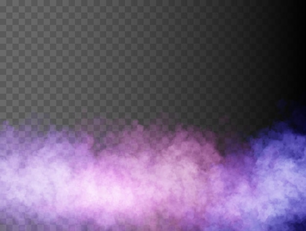 Colorful fog or smoke isolated transparent special effect bright vector cloudiness mist or smog back...