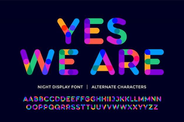Красочный шрифт. красочный яркий алфавит и шрифт. эмоциональные жирные цветные буквы в верхнем регистре. тип, типография латинский шрифт буквы. рисованный современный узкий шрифт для заголовка, текста. иллюстрация