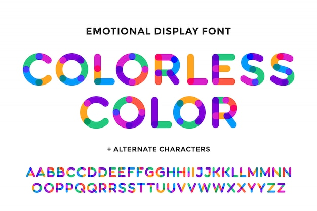 Colorful font. colorful bright alphabet and font. emotional bold uppercase color letters. type, typography letter latin font. hand-drawn modern narrow font for headline, text.  illustration