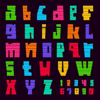 Красочный шрифт вырезать полосы. модный алфавит, яркие цветные векторные буквы