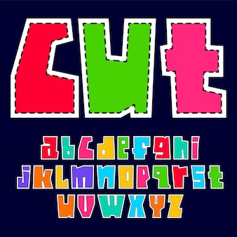Colorful font cutout from paper. trendy alphabet, bright colored vector letters, lowercase