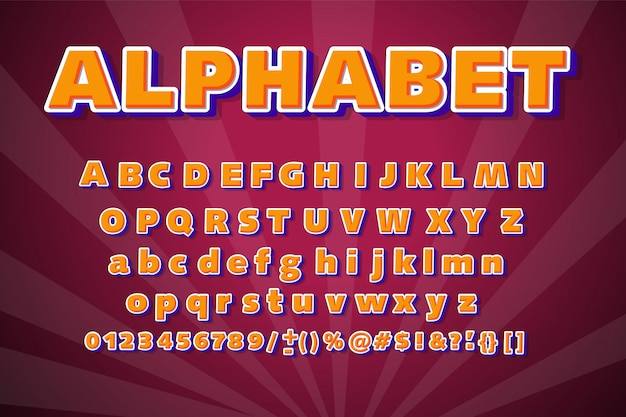 Colorful font modern typography. 3d alphabet.