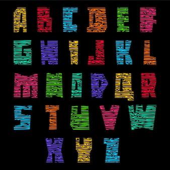 Красочный шрифт с трещинами. модный алфавит, яркие цветные векторные буквы, прописные буквы