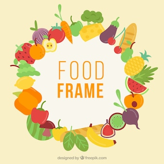 Colorful food frame with flat design