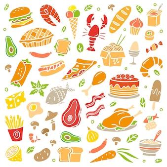 Красочная еда в стиле handdrawn
