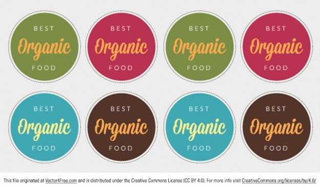 Colorful food label badges