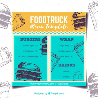 Colorful food truck menu with vintage style