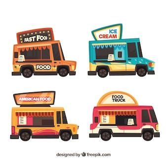 현대적인 스타일로 다채로운 음식 트럭
