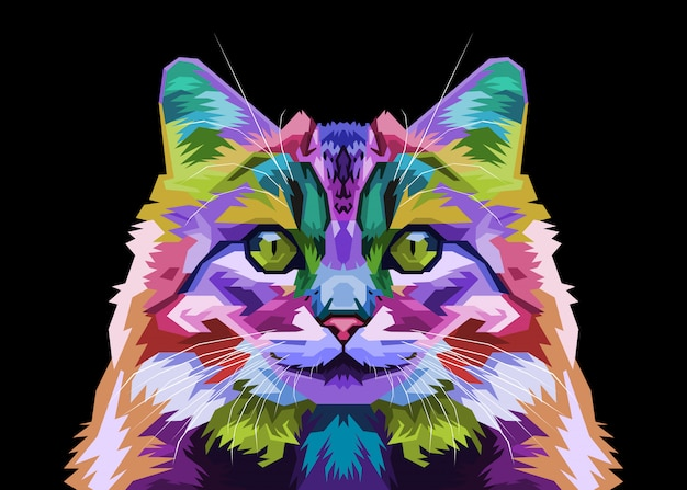 Colorful forest cat on pop art style.  illustration.