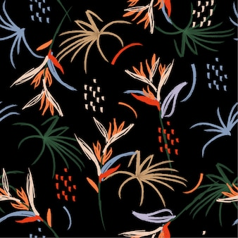 Colorful forest flower brush seamless pattern hand drawn