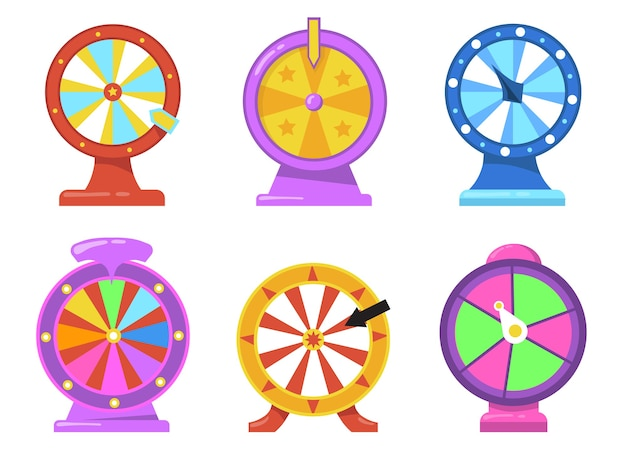 Colorful fortune wheel flat item set. cartoon gambling roulette with arrows for internet casino isolated vector illustration collection. lottery and prize winning concept