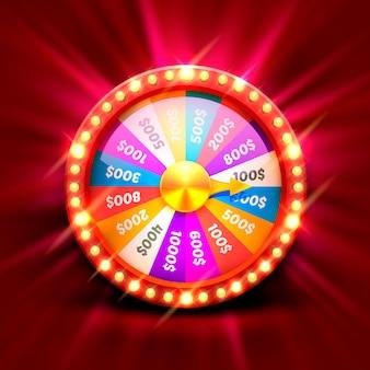 Красочное колесо фортуны. изолированные на красном фоне. векторная иллюстрация