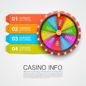 Colorful fortune wheel, isolated on white background, casino info numbers. vector illustration