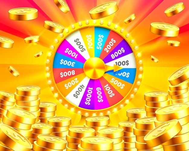 Разноцветное колесо фортуны выигрывает джекпот. груды золотых монет. векторные иллюстрации, изолированные на золотом фоне