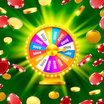 Разноцветное колесо фортуны выигрывает джекпот. груды золотых монет. векторные иллюстрации, изолированные на зеленом фоне