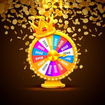 Разноцветное колесо фортуны выигрывает джекпот. груды золотых монет. векторная иллюстрация