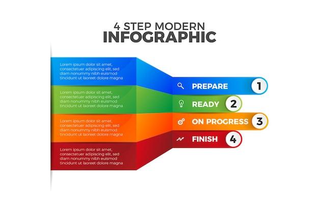 화려한 4 단계 현대 infographic