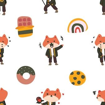 다채로운 여우 캐릭터 원활한 패턴
